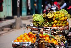 For Sell Fresh fruits on bicycle. Streetwise vendor in Nepal selling their fruit on a bike stock photo