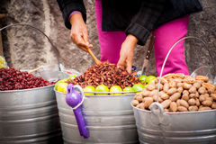 Sell of fried insects and worms Royalty Free Stock Images