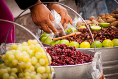 Sell of fried insects and worms Royalty Free Stock Photo