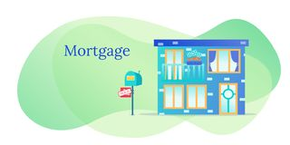 Sell house business. Mortgage real estate vector illustration. Home for rich people. Relocation stock photo