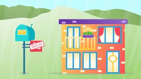 Sell house business. Mortgage real estate vector illustration. Home for rich people. Relocation. town Green background stock images