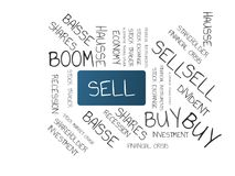 SELL - image with words associated with the topic STOCK EXCHANGE, word cloud, cube, letter, image, illustration Stock Photos