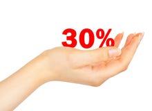 Sell-off en el treinta por ciento de mujeres en la palma Foto de archivo libre de regalías