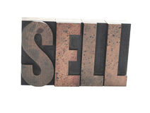 'SELL' in old wood type Stock Photography