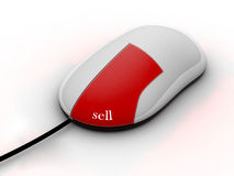 Sell online. A mouse with a red buttom, on wich is written the word sell Royalty Free Stock Image