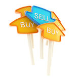 Sell plate in the middle of buy ones isolated Stock Photo