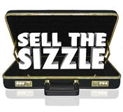 Sell the Sizzle 3d Words Briefcase Sales Presentation Benefits W Royalty Free Stock Photos