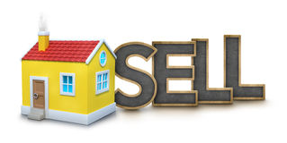 Sell text with 3d house Royalty Free Stock Images