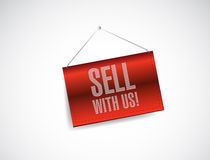 Sell with us red banner illustration design Royalty Free Stock Photography