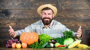 Sell vegetables. Man bearded farmer with vegetables rustic style background. Buy vegetables local farm. Locally grown stock photo