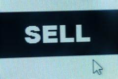 Sell word and cursor Stock Image