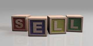 SELL written with wooden blocks. Wooden blocks arranged in the word SELL Stock Images