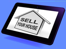 Sell Your House Home Tablet Shows Listing Real Estate Stock Images