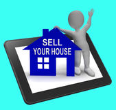 Sell Your House Home Tablet Shows Putting Property On The Market Royalty Free Stock Photography