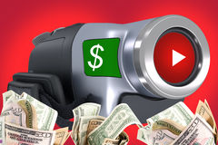 Sell your videos. Earn money online with your videos concept uploading your videos on social media Stock Photo