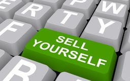 Sell yourself button. 3d illustration of green sell yourself button on computer keyboard vector illustration