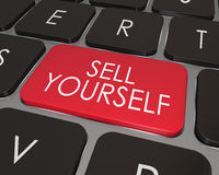 Sell Yourself Computer Keyboard Red Key Promotion Marketing. A red key on a modern computer laptop keyboard with words Sell Yourself giving advice on how to Stock Image