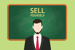 Sell yourself illustration with businessman standing  chalkboard and text behind vector graphic Stock Photos