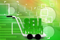 Sell Yourself words on a  cart Illustration Royalty Free Stock Image
