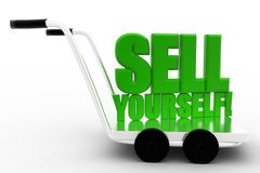 Sell Yourself words on a  cart Royalty Free Stock Images