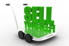 Sell Yourself words on a  cart Royalty Free Stock Photography