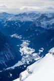 从Sella回旋曲山的Val di fassa谷 库存图片