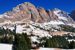 Sella Berge, Val Gardena, Italien lizenzfreies stockbild