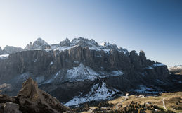 Sella and Gardena Pass in the first snow Royalty Free Stock Photos