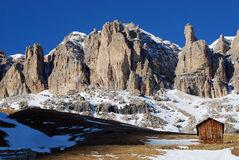 Sella Gebirgsmassiv in den Dolomit-Bergen, Italien Stockfotografie