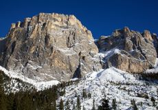 Sella group in the Dolomite mountains in winter Stock Image
