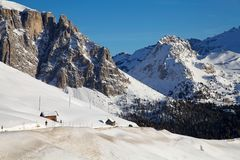 Sella Group in the Dolomite mountains in winter Stock Photo