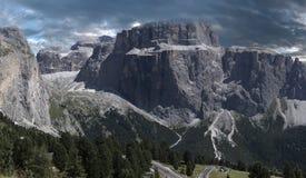 Sella Group - Dolomites, Italy. Sella Group seen from the street of the Sella pass, Dolomites - Italy stock photo