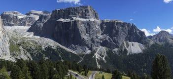 Sella Group - Dolomites, Italy. Sella Group seen from the street of the Sella pass, Dolomites - Italy stock photography