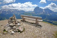 Sella Group mountains on the left and Sassoloungo and Sassopiatto mountains on the right viewed from Mount Pic above Raiser P stock images
