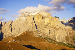 Sella group - the plateau- shaped massif in the Dolomites mountains of northern Italy Royalty Free Stock Photo