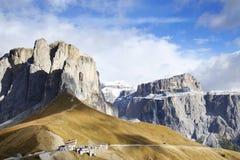 Sella-Gruppe - die Hochebene formte Gebirgsmassiv in den Dolomitbergen von Nord-Italien Lizenzfreie Stockfotografie