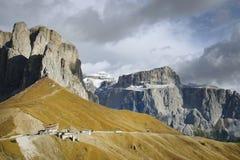 Sella-Gruppe - die Hochebene formte Gebirgsmassiv in den Dolomitbergen von Nord-Italien Stockfoto