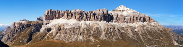 Sella Gruppe e Piz Boe, montanhas das dolomites, Itália Imagens de Stock Royalty Free