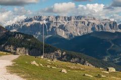 Sella-Gruppengebirgsmassiv in den Dolomit Stockfotos