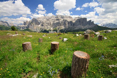 Sella mountain. Photographed from the hut Comici in Val Gardena (Dolomiti Royalty Free Stock Photo