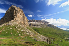 Sella mountain and Pordoi pass Royalty Free Stock Image
