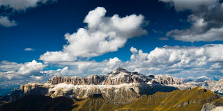 Sella mountain range. Panoramiv view of the sella mountain range with deep blue sky in dolomites, italy Royalty Free Stock Images