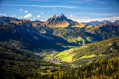 Dolomites, Passo Sella. Beautiful view of Canazei from Passo Sella. Dolomites, Italy. stock image