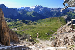 Sella pass from Sassolungo mount Royalty Free Stock Images