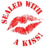 Sellado con un sello del beso Fotografía de archivo libre de regalías