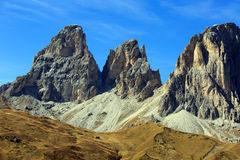 Sellajoch. Look at the mountaintops of the Dolomites Royalty Free Stock Photo