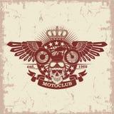 Selle al club de Moto con un cráneo y las alas Foto de archivo libre de regalías
