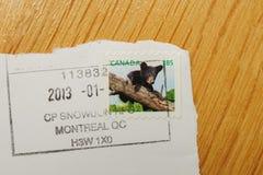 Selle con el oso canadiense publicado por los posts de Canadá Imagenes de archivo