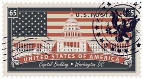 Selle con la imagen del capitolio de los E.E.U.U. en Washington DC ilustración del vector