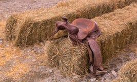 Selle en cuir de cowboy Image libre de droits